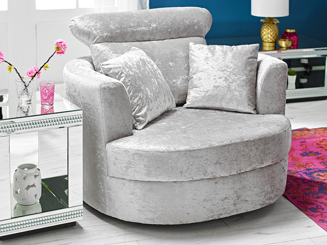 Bliss Small Swivel Chair Silver Lpd Furniture