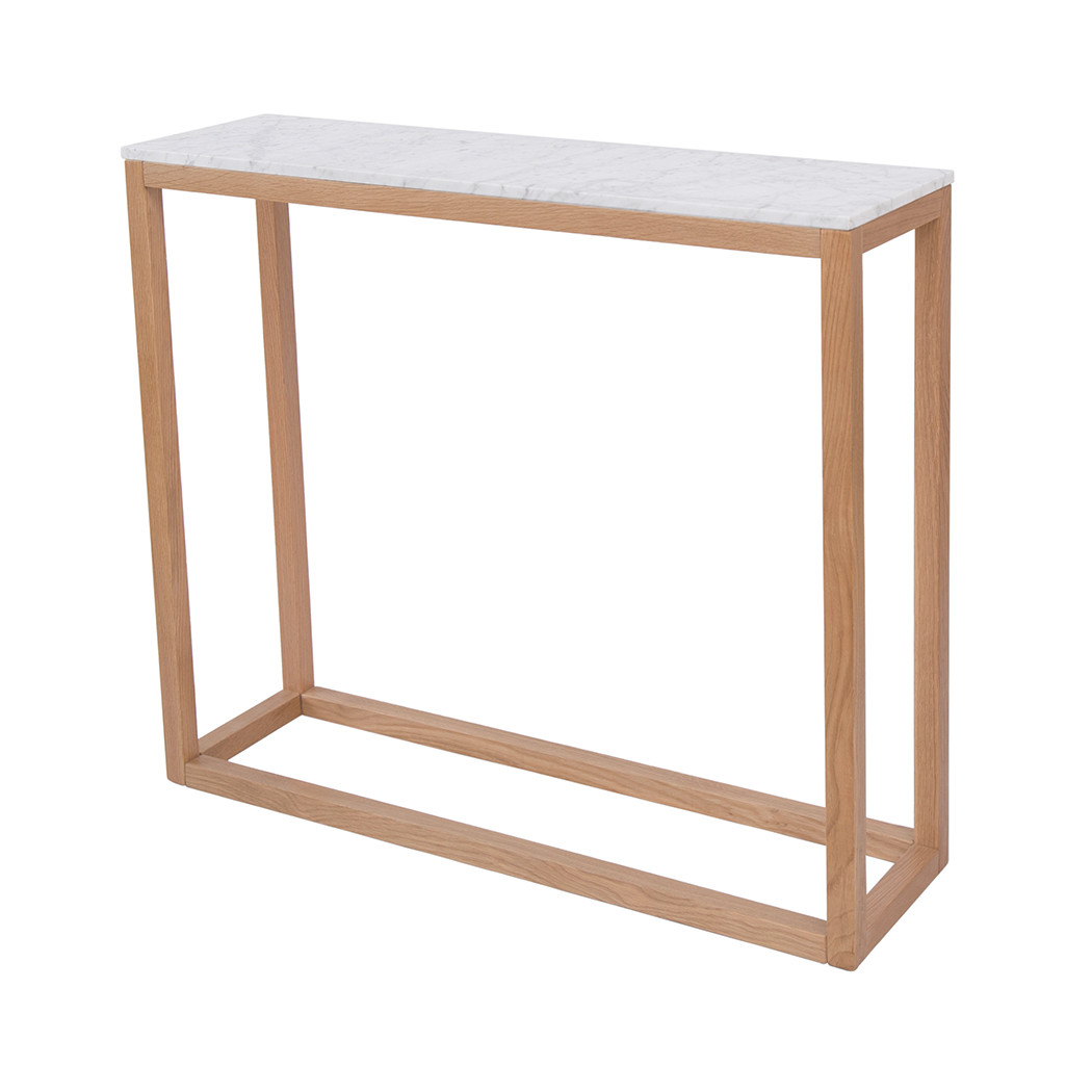 Picture of: Harlow Console Table Oak White Marble Top Lpd Furniture