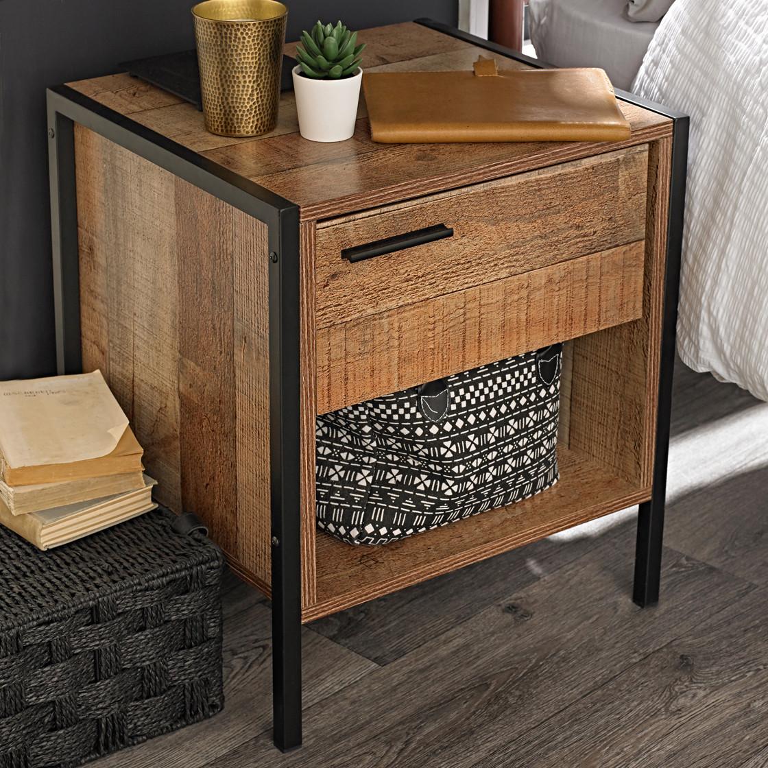 Hoxton bedside cabinet distressed oak effect
