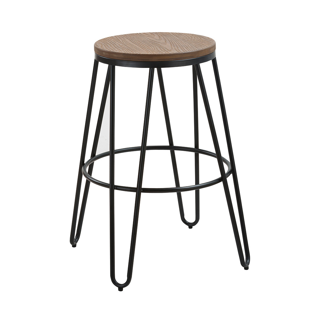 Astonishing Ikon Wood Seat With Black Metal Hairpin Legs Bar Stool Lpd Gmtry Best Dining Table And Chair Ideas Images Gmtryco
