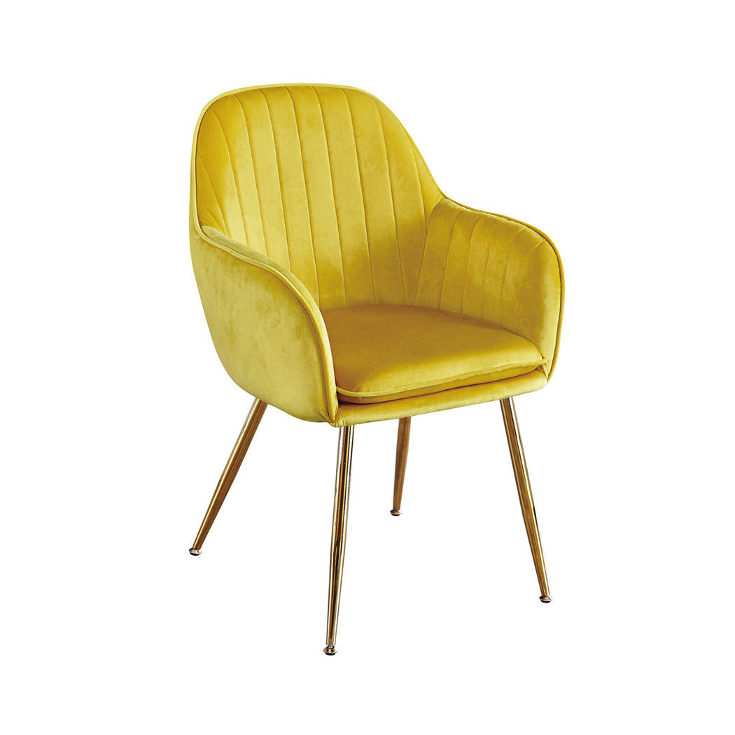 Lara Dining Chair Ochre Yellow With Gold Legs Pack Of 2