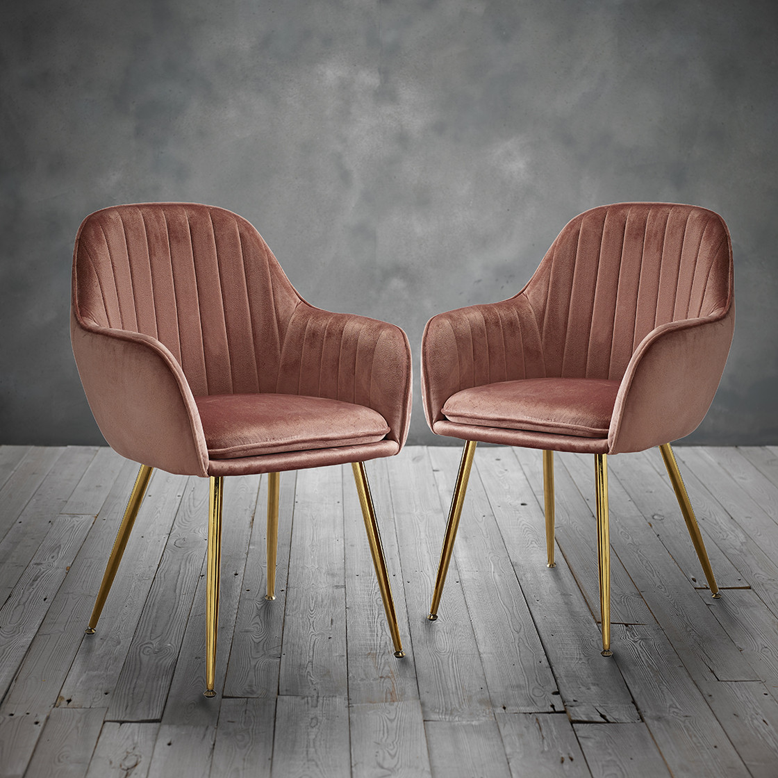 Lara Dining Chair Vintage Pink With Gold Legs Pack Of 2