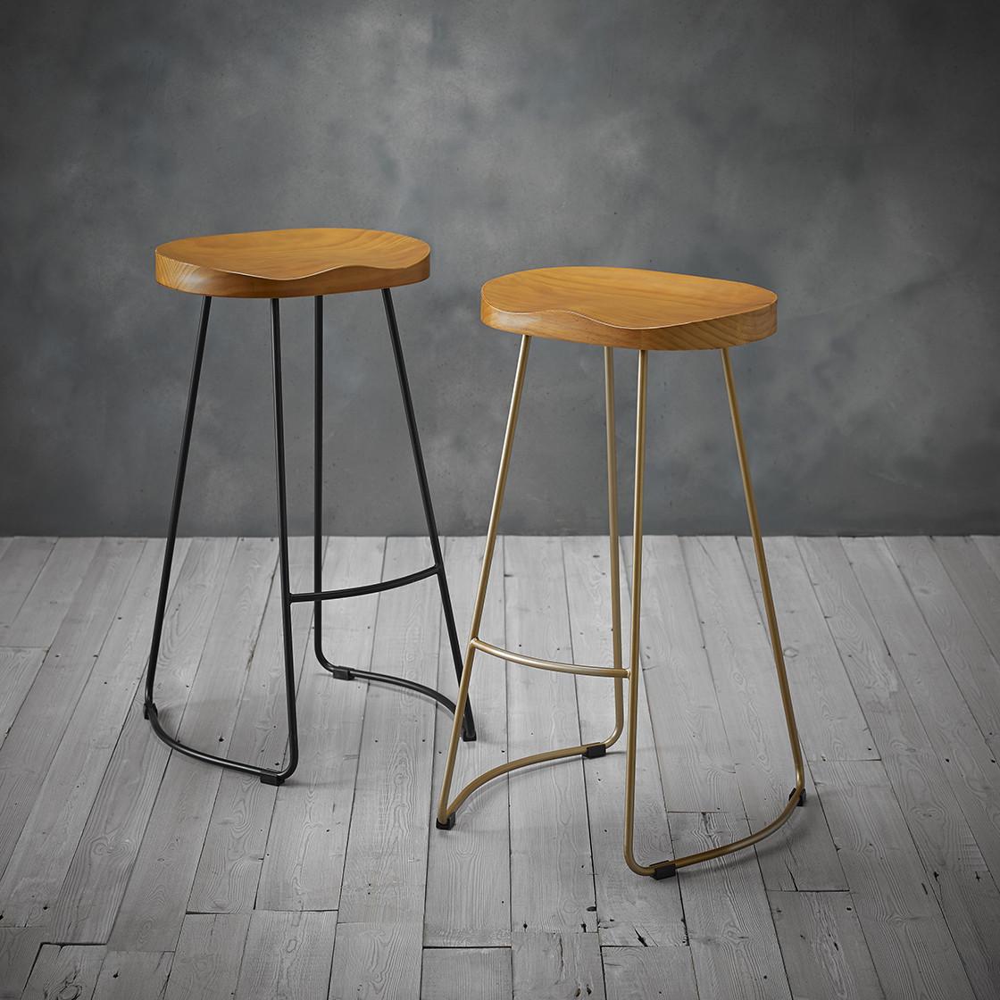 Bailey Pine Wood Seat Gold Effect Leg Bar Stool