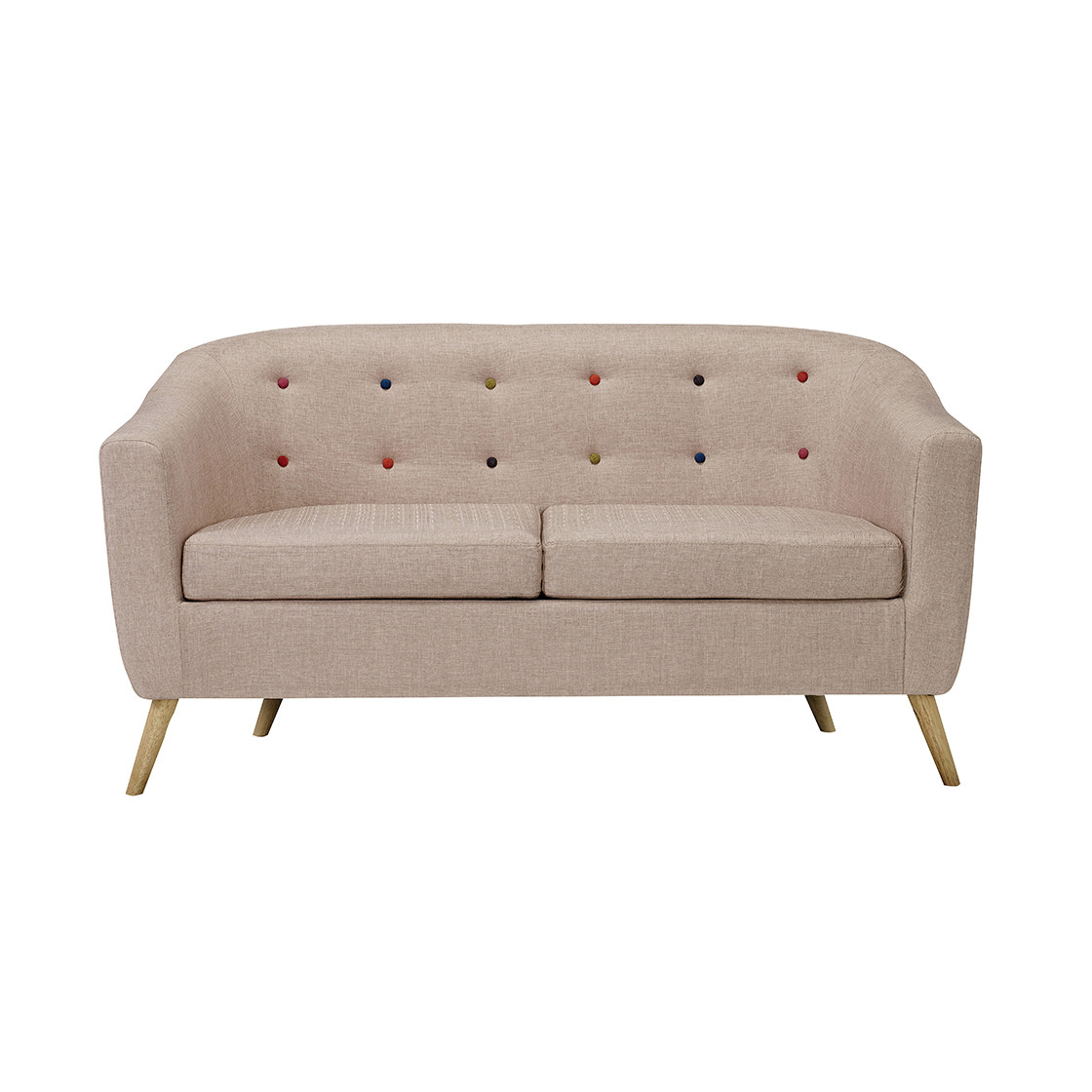 Hudson Sofa With Buttons Beige Sofas Living Room