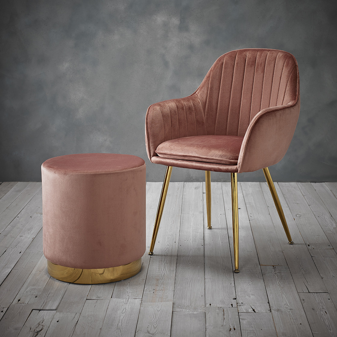 Lara Pouffe Vintage Pink Velvet (Pack of 1)
