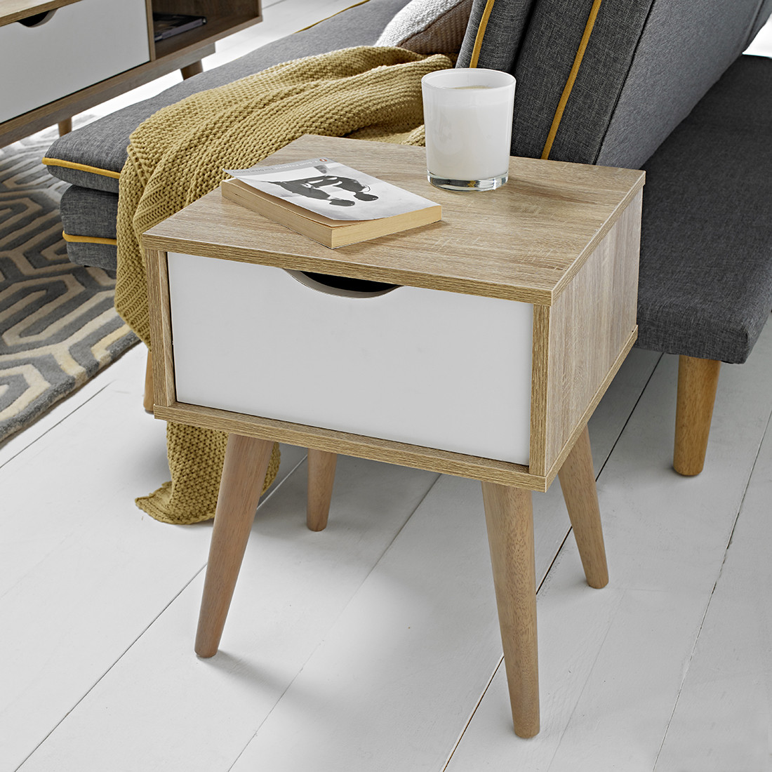 Scandi Desk Oak With White Drawers