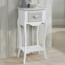Brittany 1 Drawer Bedside White-Grey