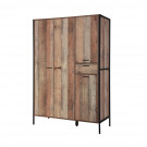 Hoxton 4 Door Wardrobe Distressed Oak Effect