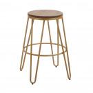 Ikon Wood Seat With Gold Effect Hairpin Legs Bar Stool