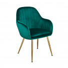 Lara Dining Chair Forest Green With Gold Legs ((Pack of 2)