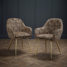 Lara Dining Chair Leopard Print With Gold Legs ((Pack of 2)