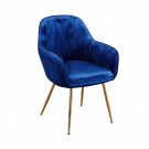 Lara Dining Chair Royal Blue With Gold Legs (Pack of 2)