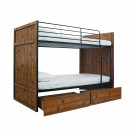 Rocco Bunk with Drawers Vintage Oak with Black Frame