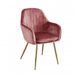 Lara Dining Chair Vintage Pink With Gold Legs (Pack of 2)