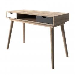 Scandi Desk Oak With Grey And White Drawers